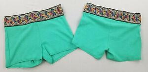 new FREE PEOPLE women shorts legging OB959377 blue green sz S $38