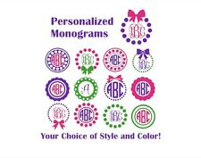 "Personalized Monogram 3"" Decal Sticker Circle Frame Bow Dots Yeti Size Initials"