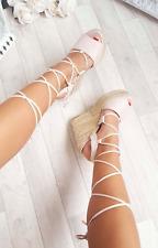 Womens Ladies Wedge Heel Sandals Espadrille Platform Lace Tie Up Summer Shoes