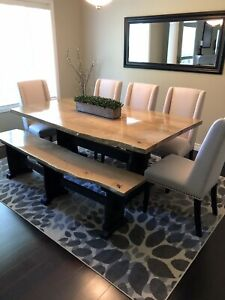 Live Edge dining room tables With Matching Bench