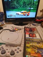 White Sony PS1 PlayStation 1 Slim Mini Console & Controller PS1 SCPH-102+3 games