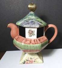 Mackenzie Childs TORQUAY/PALM And DEVON CLAY Large Pedestal Teapot