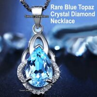 NEW 925 Silver Blue Crystal Diamond Necklace Women Wife Love Xmas Gifts For Her