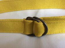 Unisex Yelllow Fabric Woven D Clasp Belt size m