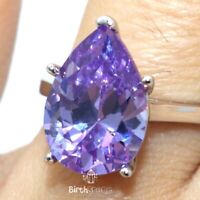 4CT Pear Cut Amethyst Ring Women Jewelry 14K White Gold Plated Size 6 to 9