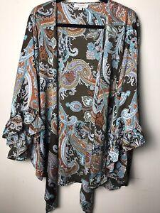 Umgee Kimono Cardigan XL X Large Boho Brown Paisley Duster Ruffle Plus Size