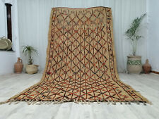 "Moroccan Handmade Straw Fiber Wool Mat 5'3""x10'3"" Berber Vintage Halfa Hassira"