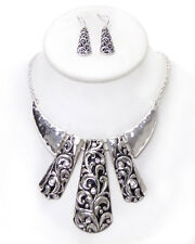 Tribal Inspired Hammered Metal & Engraved Drop Necklace&Earring  Silvertone
