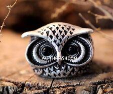 Big Lucky Owl Ring Funny Ring Retro Burnished Animal Bird Ring Size8 US
