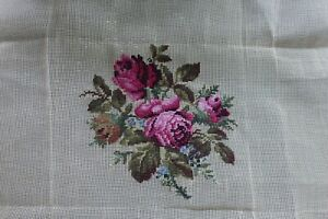 hand worked TAPESTRY upholstery chair SEAT COVER rose medallion 24cm W design