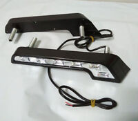 2x White 6 LED Universal Car SUV Driving Lamp Fog 12V DRL Daytime Running Light