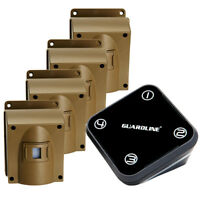 GUARDLINE Wireless Driveway Alarm System w/ Four Motion Alert Sensors Bundle NEW