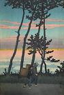 Hasui Kawase Japanese Woodblock Print Nakoso Evening 1954