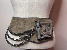 SALENAS COLLECTION Silver Chains Leather Steampunk Medieval Statement BELT XL