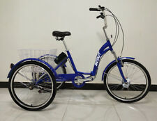 """Electric tricycle, 24"""" wheels, folding frame, 6-speed - BLUE, 250w, 12.8Ah"""