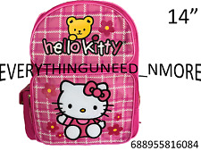 """Sanrio Hello Kitty Fullbody With Bear 14"""" Canvas Pink Grils School Backpack-6084"""