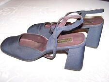 Vtg Ladies Shoes 2 1/2 inch Heels Navy Blue Material Sz 10 Unlisted Euc Slingba
