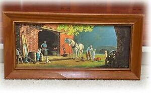 VTG Framed Paul Detlefsen Print THE SMITHY Blacksmith Shop 15x6 panel 17x8 Frame
