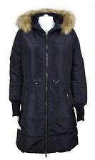 Tom Tailor Denim Damen Mantel Wintermantel mit Kapuze und Fell Größe M Schwarz