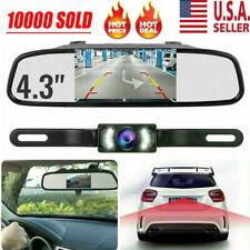 "4.3"" Backup Camera Mirror Parking System Kit Car Rear View Reverse Night Vision"