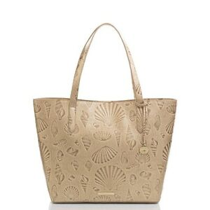 NEW BRAHMIN Ultra Rare SEASHELL GOLD BROOKE STARDUST DRAPER TOTE WITH POUCH  NWT