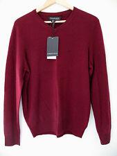 NWT Harrison Davis 100% Cashmere Men's Deep Red V Neck Sweater M $245
