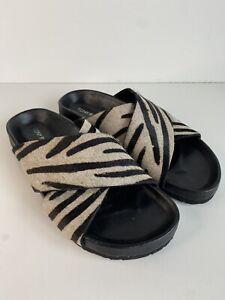 Tony Bianco Tiger Animal Print Flat Slides Leather US5 AU5 UK3 EU35.5 AS NEW