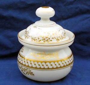 19th century French blown and gilded opaline glass sugar bowl circa 1840