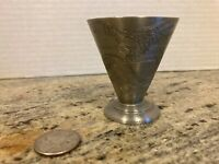 Chinese Dragon Engraved Pewter Shot Cup 2 Ounce Vintage 1970s Monogram F