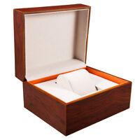 Orange Wooden Wrist Watch Presentation Box Case Storage Organiser Gift Men