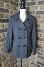 Mystic Womens size Medium PETITE Charcoal Gray Wool Blend Trench Coat Jacket EUC