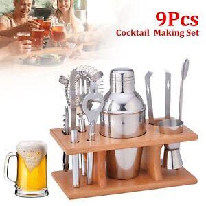 9Pcs Stainless Steel Cocktail Shaker Set Bar Drink Mixer Bartender Accessories
