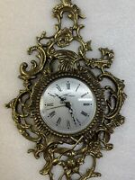 Rare Vintage Ornate Signed Brass Wall Clock West Germany - Non-Working!