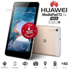 "New Unlocked HUAWEI MediaPad T2 Gold 7"" IPS 4G LTE Android Cell Phone PC Tablet"