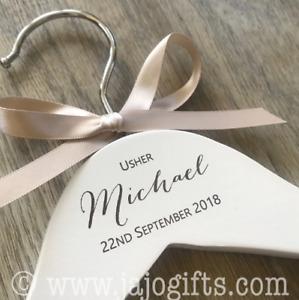 Personalised engraved dress coat hangers wedding party bride photo prop brush