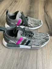ADIDAS NMD_R1 W PK SNEAKERS BY9864 SHOES SIZE 7.5 Green Glitch Camo Pink EUC