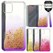 For iPhone 11 Pro Max Quicksand Glitter Two Tone TPU Case+ Tempered Glass