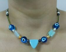 Turkish evil eye glass beads with fresh water pearls necklace 16 inches
