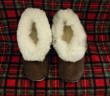 From Peru Brown Suede White Alpaca Fur Slippers Size Narrow W 9, M 7.5, Euro 40