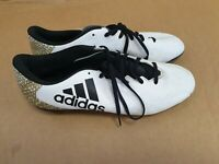 E906 MENS ADIDAS 16.4 WHITE GOLD BLACK LACE UP FOOTBALL BOOTS UK 11 EU 46