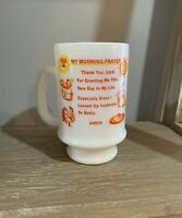 Vintage MY MORNING PRAYER humorous devotional milk glass pedestal coffee mug