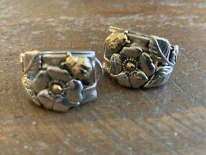 """KC Studio Barry Cord 1"""" Earrings Sterling Silver w/ 14k Gold"""