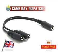 Stereo 3.5mm Female to 2x Female 2 way Splitter Cable & Gender Changer 10 cm aux