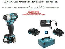 """MAKITA AVVITATORE IMPULSI 12V 3/8"""" TW160DSAJ + 2 Batteria 2Ah +caricab + MAKPAC"""