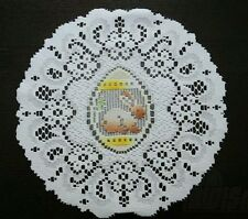 "Easter/spring  bunny white round doily/tablemat, 30cm ( 12""), new."