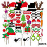 Hot Stylish Christmas Photo Booth Props On Mustache Lips Stick Xmas Party Decor
