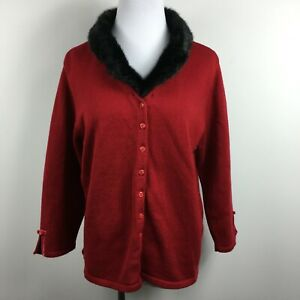 First Issue XL Cardigan Sweater Red Removeable Faux Fur Collar Button Up 3/4 Slv