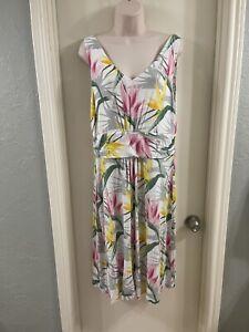 Tommy Bahama Hawaiian Floral Sleeveless Print Dress Size L EUC