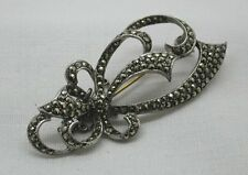 Beautiful Vintage Silver And Marcasite Bow  Shaped Brooch