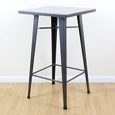 Gunmetal Grey Tall Metal Square Bistro/Cafe/Bar Table Industrial/Vintage Style